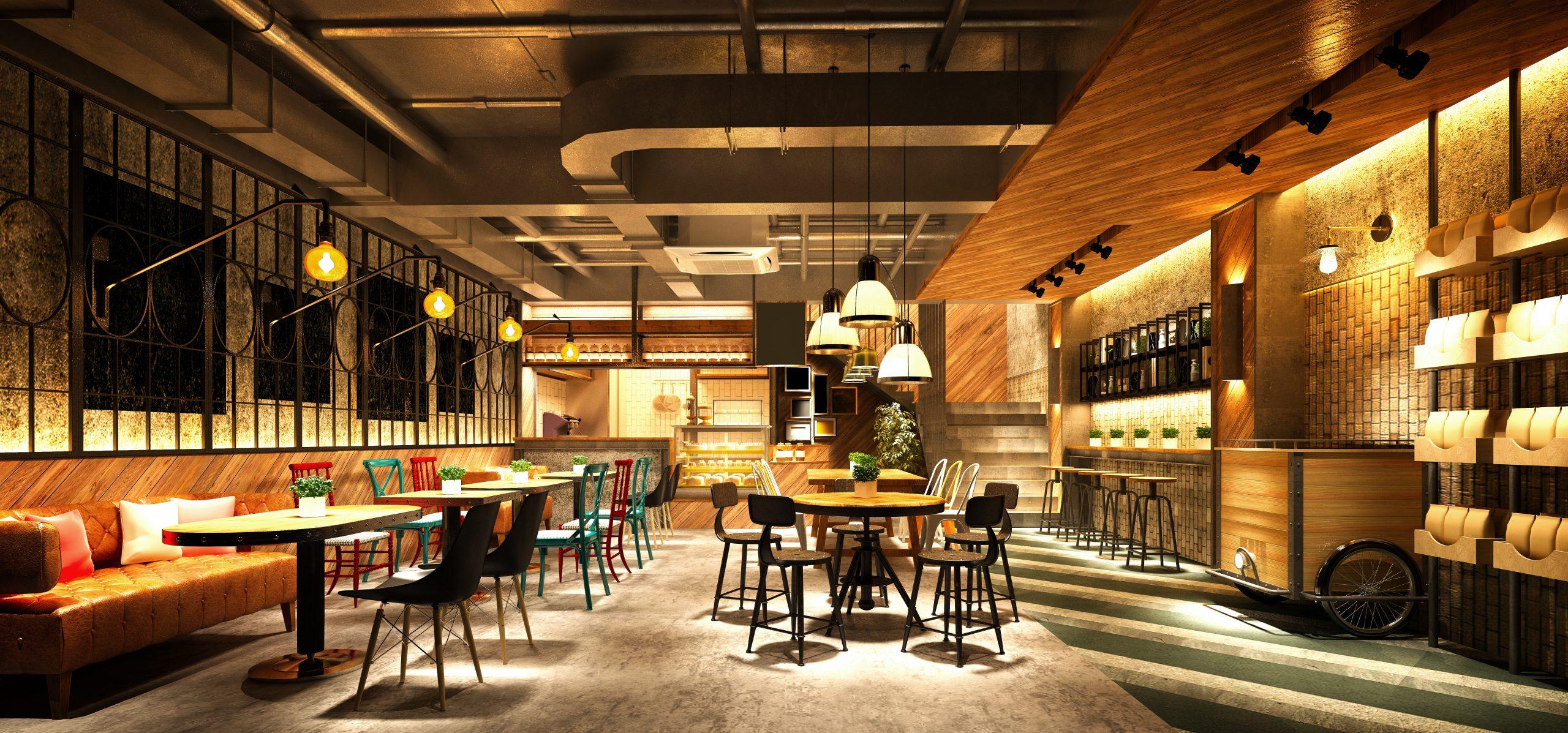 3d render cafe restaurant